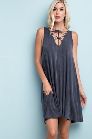 Read Between the Lines Dress (Charcoal)