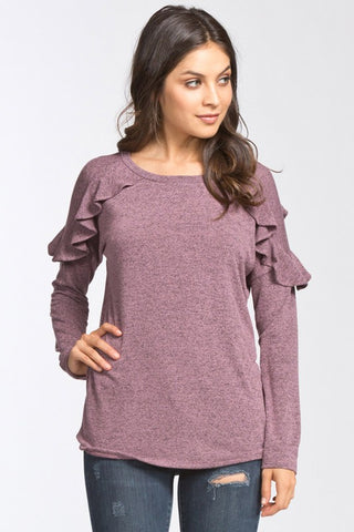 Ruffle Around the Edges Top (Mauve)
