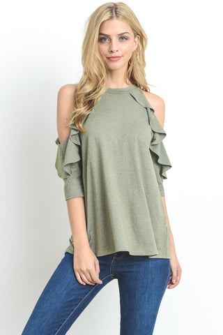 Ruffled Cold-Shoulder Top (Olive)