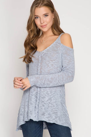 Signs of Spring Cold-Shoulder Sweater (Periwinkle Blue)