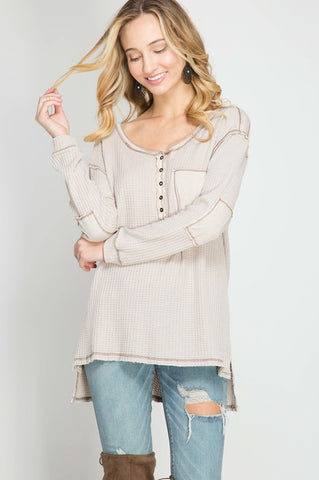 Stone-Washed Thermal Top (Taupe)
