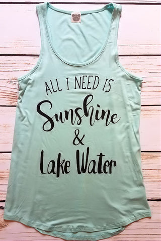 Sunshine & Lake Water Graphic Tank Top (Mint)