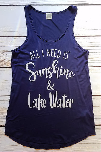 Sunshine & Lake Water Graphic Tank Top (Navy)
