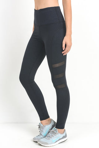 Triple Threat Geo Mesh Leggings (Black)