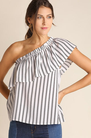 UMGEE ONE-Shouldered Striped Top (White)