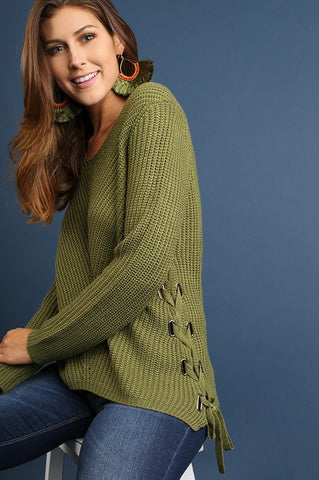 UMGEE-Side Laces Sweater (Olive)