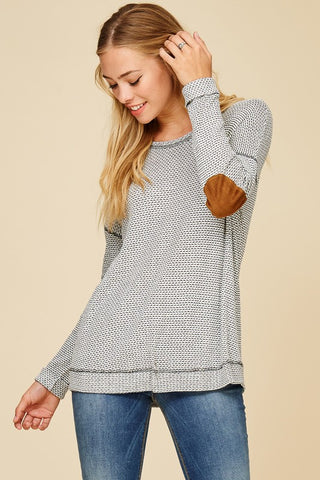 Waffle Knit Elbow Patch Top