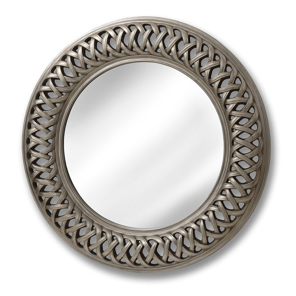 Large Round Silver Mirror With Detail