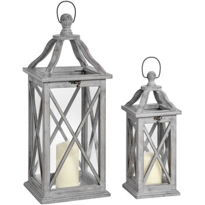 Set of Two Grey Lanterns