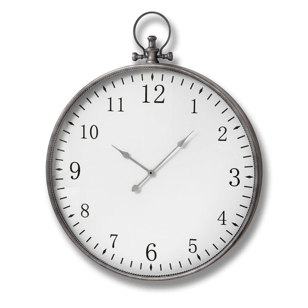 Large Silver Pocket Watch Style Wall clock