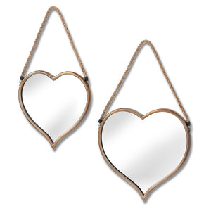 Two Hanging Heart Mirrors