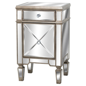 Mirrored One Drawer Side Table