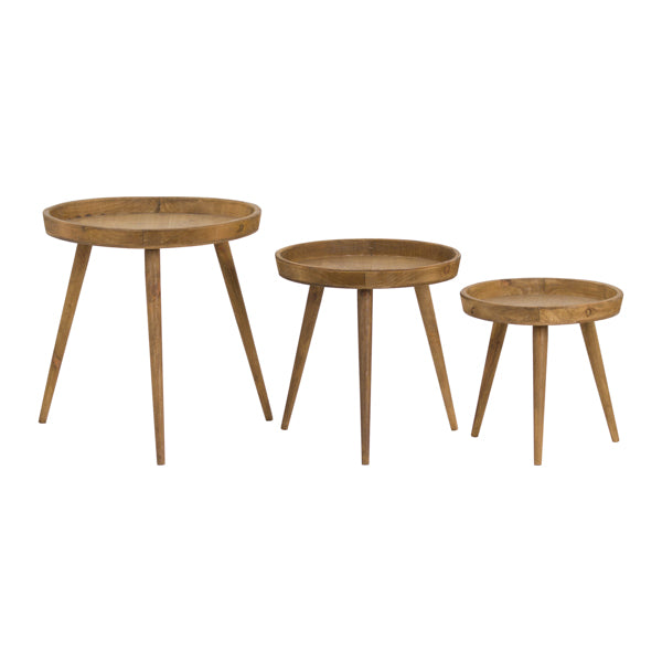 Three Round Wooden Tables