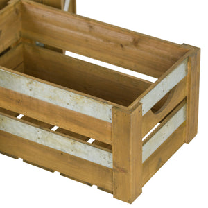 Three Wooden Storage Crates With Metal Detail
