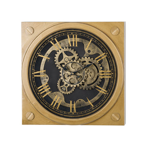 Square Gold Moving Mechanism Hanging Clock