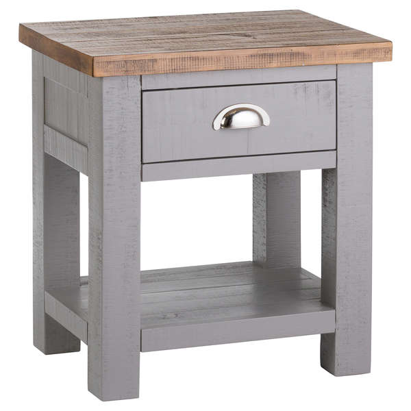 Grey And Pine Side Table