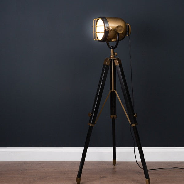 Brass And Black Spotlight Tripod Lamp