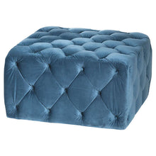 Load image into Gallery viewer, Button Square Blue Ottoman