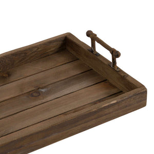 Large Rustic Trays With Metal Handles