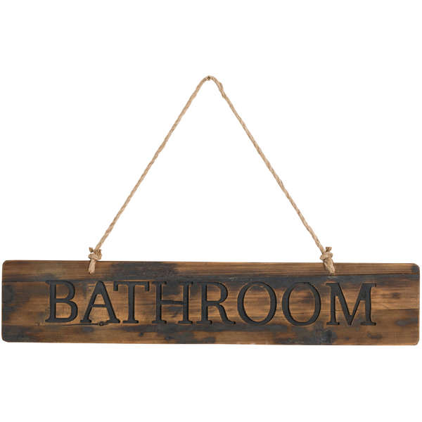 Rustic Large Bathroom Hanging Sign