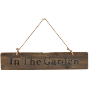 "Large ""In The Garden"" Wooden Hanging Sign"