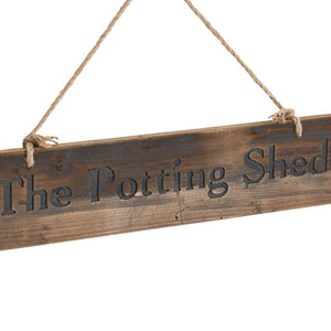 "Large ""The Potting Shed"" wooden Hanging Sign"