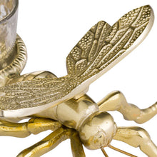 Load image into Gallery viewer, Large Brass Dragonfly Tea Light Holder