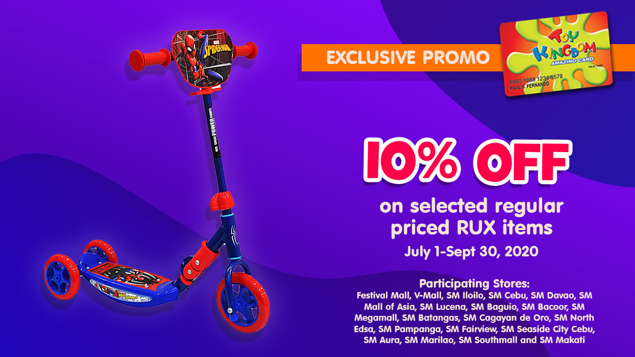 10% off on selected regular priced RUX items