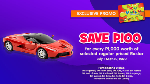 Save 100 for every P1,000 worth of selected regular priced Rastar