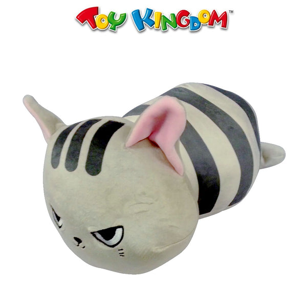 Lying Soft Cat Plush Gray with Stripes for Kids