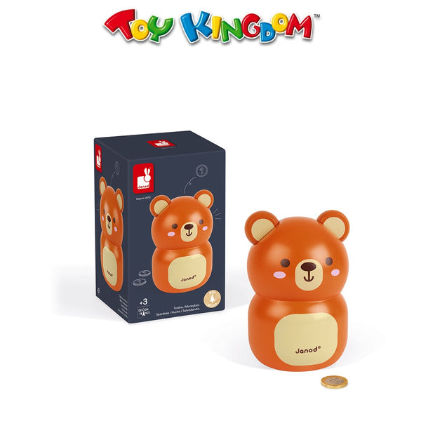 Janod Wooden Bear Money Box For Kids