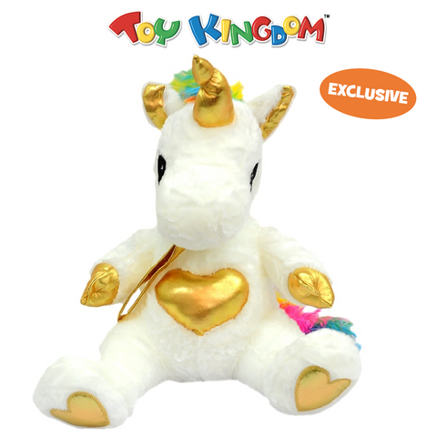 18-Inch Mini Unicorn with Gold Heart Plush Toy for Kids