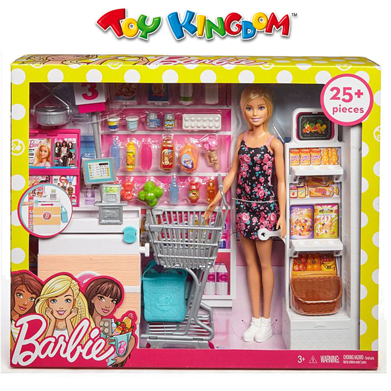 Barbie Grocery Store with Rolling Cart Playset for Kids
