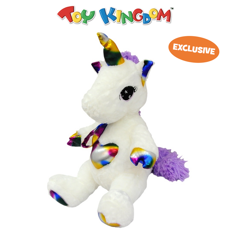 18-Inch Mini Unicorn with Rainbow Heart Plush Toy for Kids