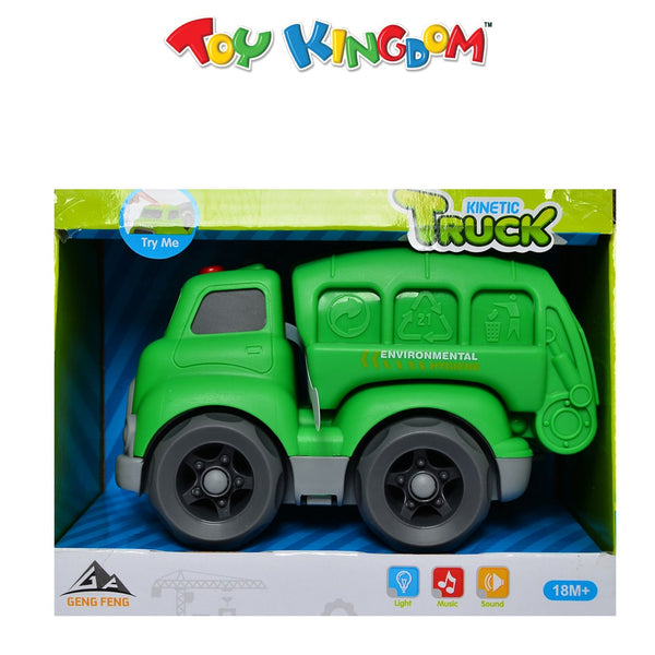 Kinetic Truck Green Garbage Truck with Lights and Sounds for Kids