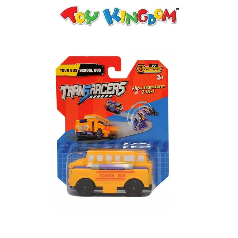 Transracers  School Bus Flip & Transform 2-in-1 Car for Kids
