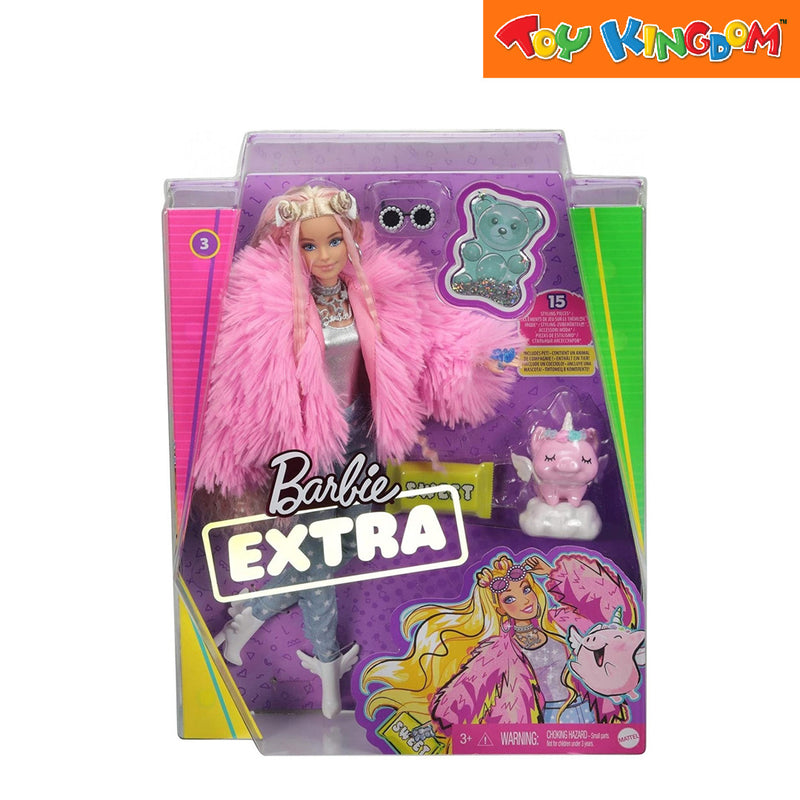 Barbie Fab Barbie Extra Doll - Pink Coat with Pet Unicorn-Pig Toy for Girls