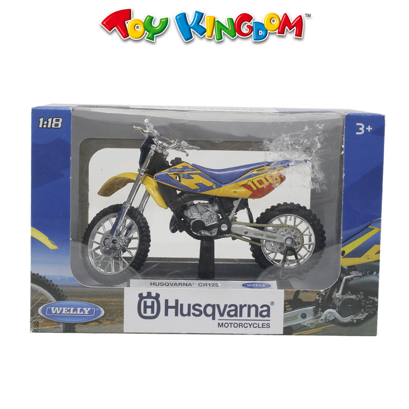 Welly Husqvarna CR125 Diecast Motorcycle Blue and Yellow for Kids