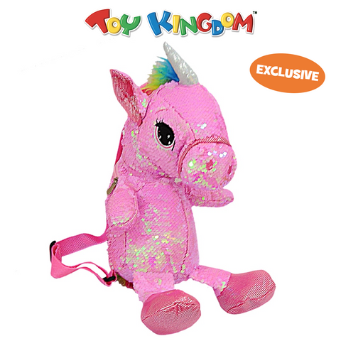 Pink Sequin Unicorn Bag Plush Toy for Girls