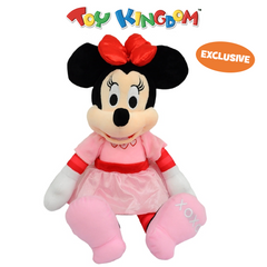 Disney Minnie Mouse 14-Inch Minnie Mouse with Pink Dress and Red Bow Plush Toy for Kids