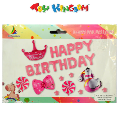 Happy Birthday Foil Balloons (Pink) for Girls