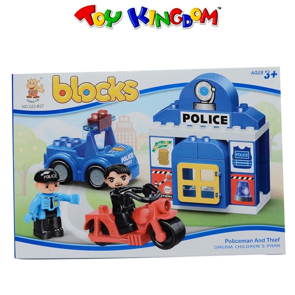 Blocks Police Station Policeman and Thief 24-pc Blocks Playset for Kids
