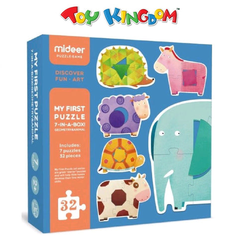 Mideer My First Puzzle 7-in-1 Box Geometry and Animal Puzzle for Toddlers
