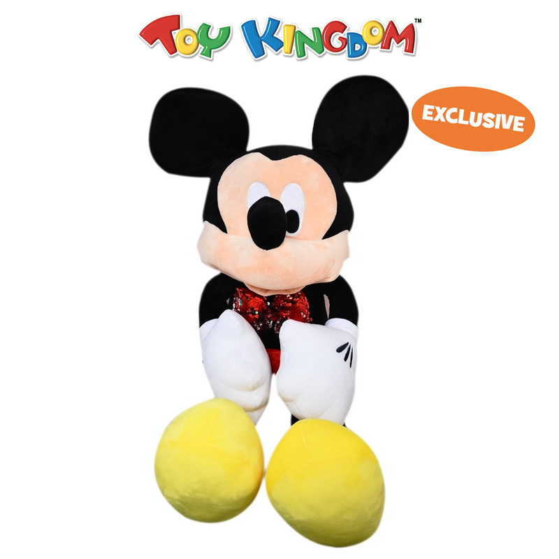 Disney Mickey Mouse Oversized Mickey Mouse with Red Sequin Bow Plush Toy for Kids