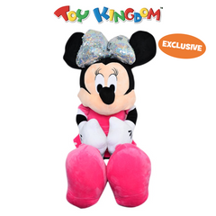 Disney Minnie Mouse Oversized Minnie Mouse with Silver Ribbon Plush Toy for Girls