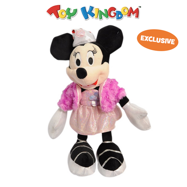 Disney Minnie Mouse with Purple Fur Coat and Pink Dress 14-Inch Plush Toy for Kids