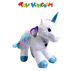 18-Inch White Unicorn with Heart Necklace Plush Toy