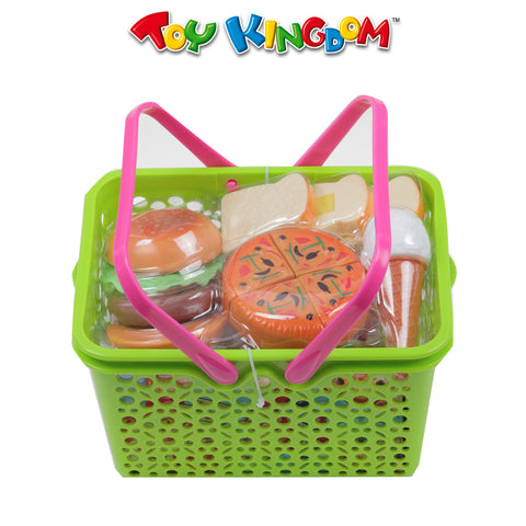 Cutting Pizza and Play Food Set with Basket for Kids
