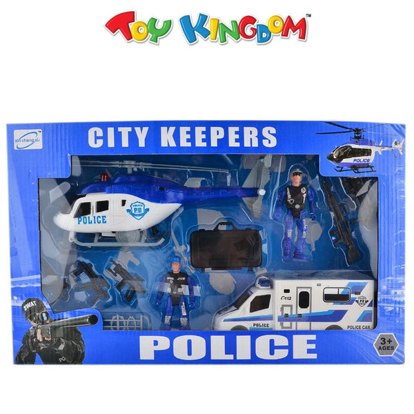 City Keepers Police Car and Helicopter Playset