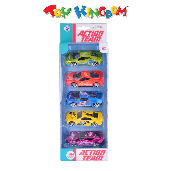 Action Team Quality Die-Cast Metal 5-Pack Race Car Playset for Boys